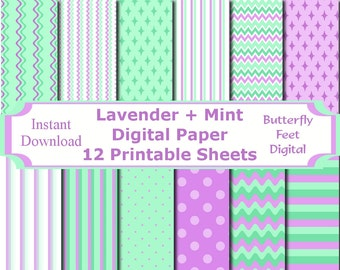 Mint and Lavender Digital Paper Pack, 12 Printable Designs, Scrapbooking, Card Making, Instant Download