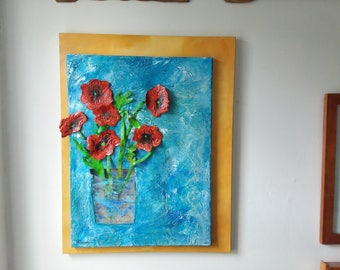 Original Mixed Media Poppies Painting