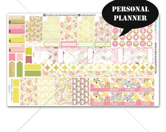 Blush Pink Gold Floral MONTHLY Planner Kit / Personal Planner Stickers / Personal Planner Kit / Monthly Sticker Kit #SQ00217-Personal