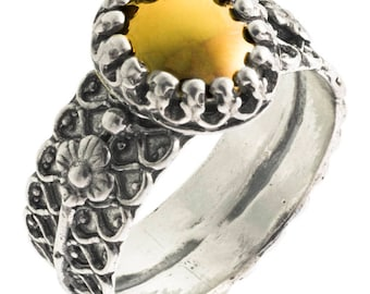 Silver and Gold ring, Womens silver ring, Unique silver ring, handmade