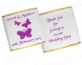 50 Personalised chocolates wedding/anniversary/engagement/birthday - Butterfly design 2