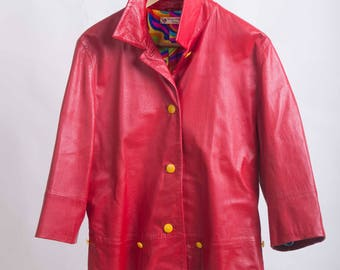 Leather jacket Rosso70s-Max mara style-Cod D31