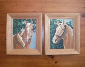 2 Vintage Horse Paint By Number Paintings - Vintage Horse Horses Paint By Number - Mid Century Craft Master Horses Artwork Painting
