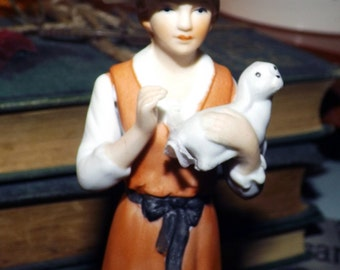 Vintage (1930s) porcelain bisque figurine.  Made in Korea. Blue crossed swords mark to base. Unknown manufacturer.