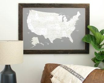 US Map Push Pin, Travel Map, United States Map, Push Pin Map, Husband Gift, Gifts for Traveler, Valentine's Day, United States Travel Map