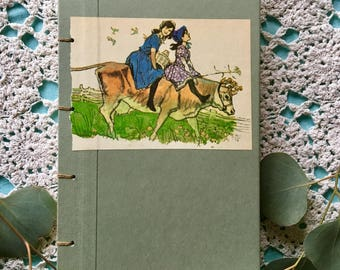 Retro rebuff cowgirls vintage photo handmade journal handmade paper and drawing paper
