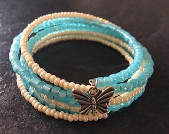 Cream pearl & aqua memory wire bracelet