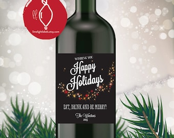 Holiday Wine Label, Christmas Holiday gift wine labels, christmas party wine labels, gift wine labels, style 510 Limelight Labels