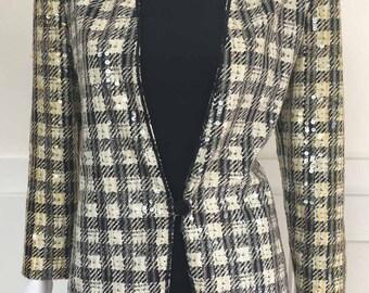 1990s Vintage Hand-Beaded Houndstooth Nolan Miller Sequined Jacket--Sz. 6 (SKU 10157CL)