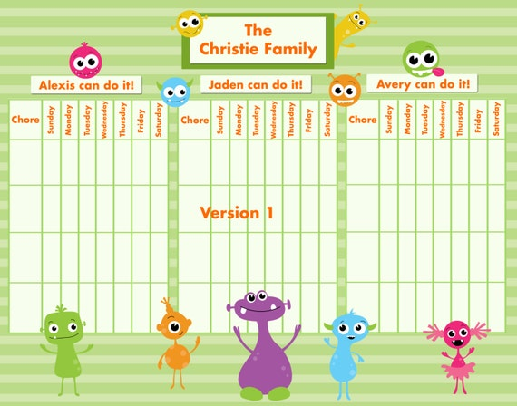Customizable reward chore chart for multiple children silly