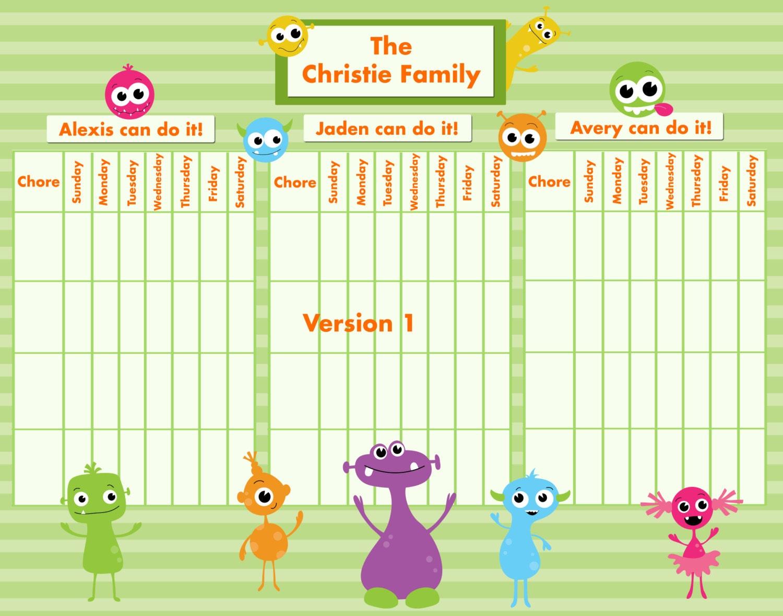 childrens chore chart template