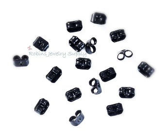 50 Butterfly Earring Backs - Black Earring Nuts - Earring Nuts - Earring Findings - Jewelry Findings - Ear Nuts - Earring Components - F0049