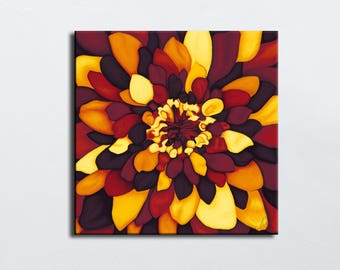 Autumn colors flower picture - painting digital print on canvas painting square - limited edition - warm colors to choose size