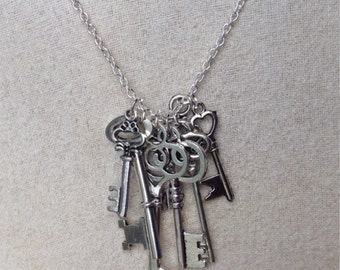 Silver Steampunk Skeleton Key Necklace