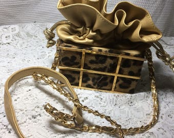 Faux Leopard  And Brass Purse