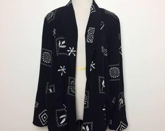 Vintage 80s Jacket/ 80s Black White Novelty Blazer/ Small Medium
