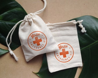 10 hand stamped 'girlie emergency kit' favor pouches