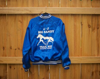 Vintage Satin Bomber with Horses