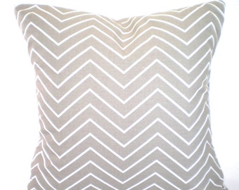 Taupe White Chevron Decorative Throw Pillow Covers, Cushions, Taupe Ecru White Chevron, Couch Bed Sofa Taupe Cushions One ALL SIZES
