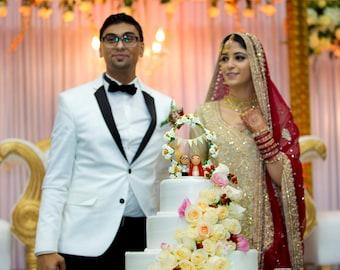 Personalised Indian Wedding Cake Topper, Peg Doll Wedding Cake topper, Bride and Groom cake topper, Kokeshi Wedding Cake Topper