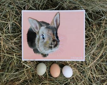 Original Art Rabbit Print Acrylic Painting Print - Budding Rabbit - 8x10 Print, Acrylic Print, Farm Animal Print, Bunny, Pink, Peach