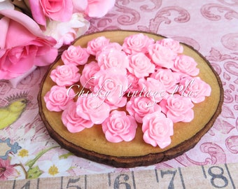 Resin Pink Roses Beads - 20mm (2cm)