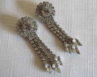 Vintage Bluette Made in France Sparkling Rhinestone Dangle Shoe Clips Wedding Bridal