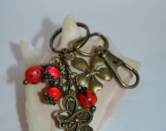 Swivel Clip Keychain Ladybugs & Flowers, Ladybug Keychain, Butterfly and Ladybug Keychain, Ladybug Clip, Butterfly Clip, Flower Clip