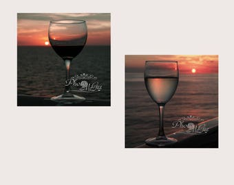 Photography, Art, Two Metal Prints, Red Wine in Sunset, White Wine in Sunset