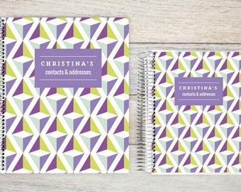 Address Book, Personalized Address Book, Contacts Book, Telephone and Address book, Custom Address Book - geometrical violet