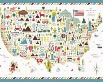 Windham Fabrics by Whistler Studios - Multi Coast to Coast Panel - 43004P-X - United States Panel - 100% cotton fabric