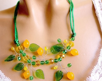 yellow and green branch necklace leaf and lemon