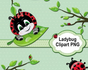 Ladybug Clipart Collection, Ladybirds Images PNG, Ladybugs Clip Art, Digital Paper & Labels Printables, Scrapbooking, Cute Insects and Trees