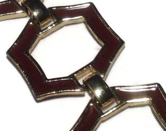 Vintage Brown and Goldtone Link Bracelet