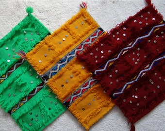Berber cushion Moroccan yellow handira is hand decorated with sequins mouzouna.