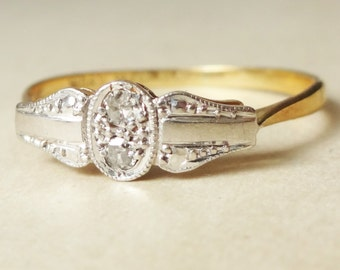 10% OFF SALE Art Deco Cameo Framed Twin Diamond Ring, Diamond 18k Gold and Platinum Engagement Ring Approx. Size US 8.25