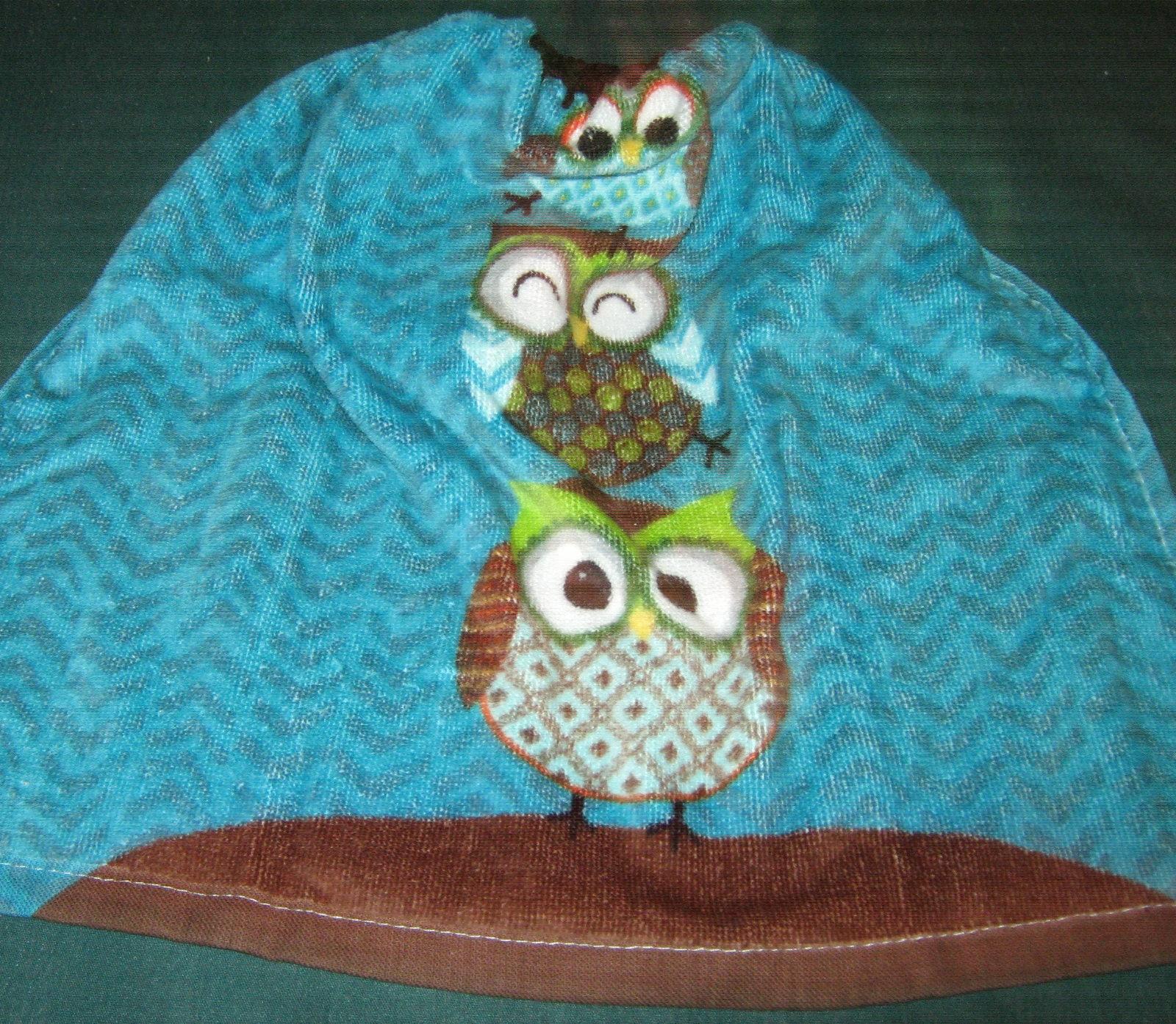 Crochet Kitchen Hanging Towel 3 Owls Brown Crochet top