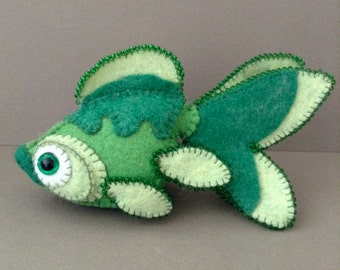 Bright Green Goldfish Koi Fish Soft Sculpture