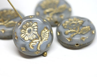 18mm Grey Flower beads, 2pc Czech glass Round tablet floral ornament beads, Grey and Gold wash - 2pc - 2777