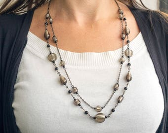 multistrand beaded glass necklace,grey beads necklace,silver foil necklace,lampwork necklace,Venetian multistrand necklace,artisan necklace