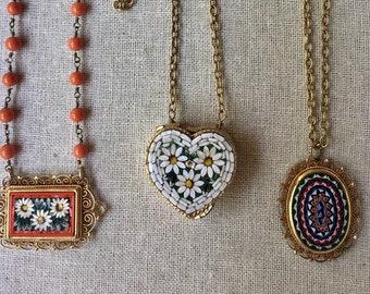 Vintage colorful Italian micro mosaic pendant necklaces!