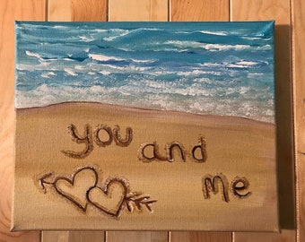 Custom Signs, Painted Canvas, Personalized Art, Painted Canvas Sign, Painted Names In The Sand, Beach Decor, Coastal Art, Original Art