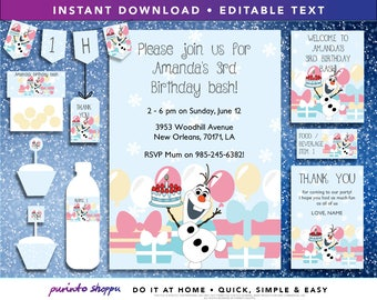 Frozen Olaf Birthday Party Printables / Invitation - INSTANT DOWNLOAD - Fully EDITABLE text