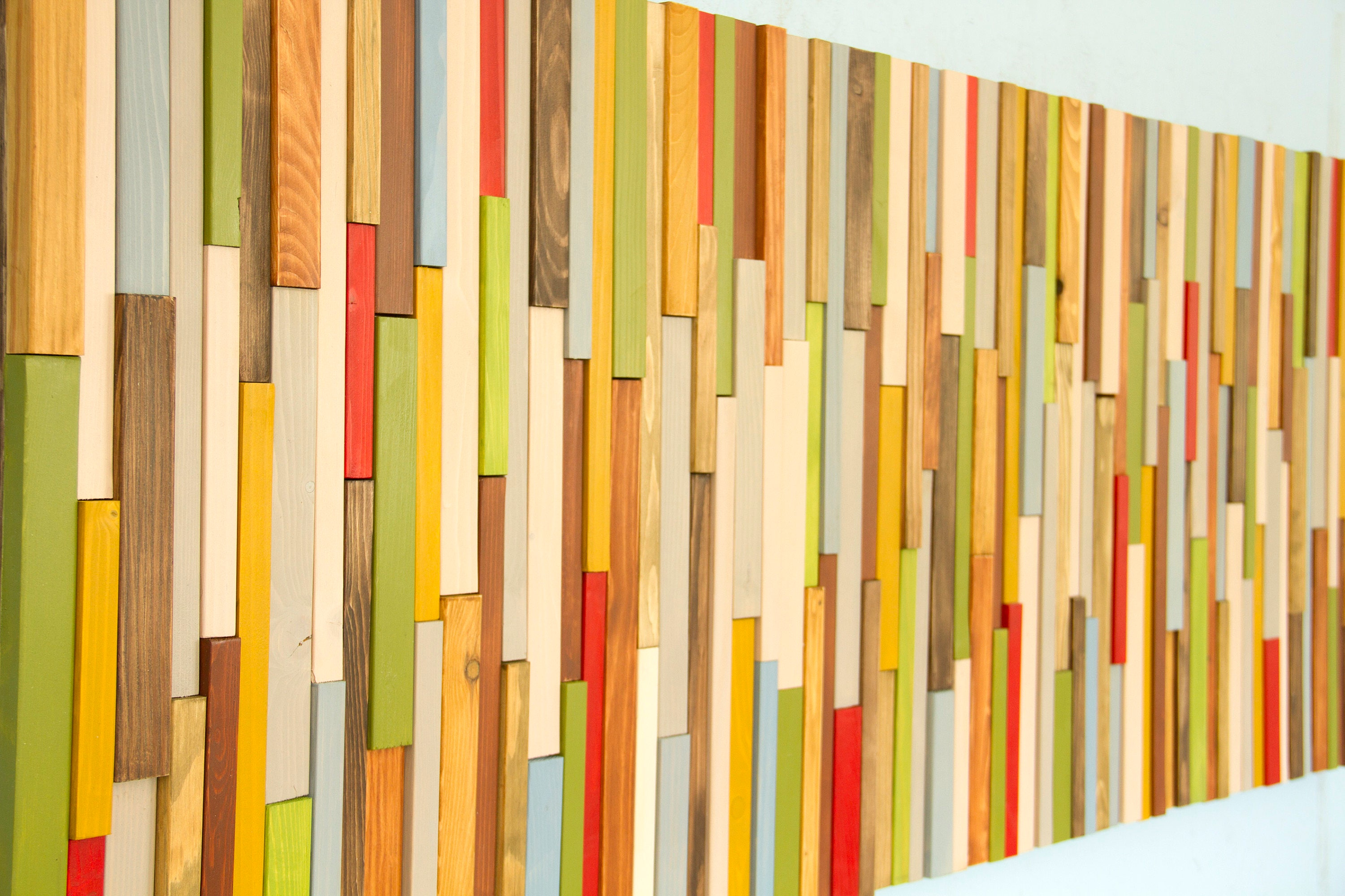 Wood Wall Art 3D, wood sculpture, 24 x 64, painted wood pieces ...