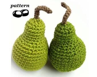 Crochet Pear Pattern / Crochet Fruit Pattern / Crochet Food Pattern