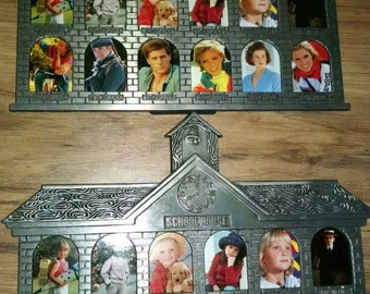 Lot of 2 1st to 12th grade picture frames in cute school house design. Pewter. Never used.