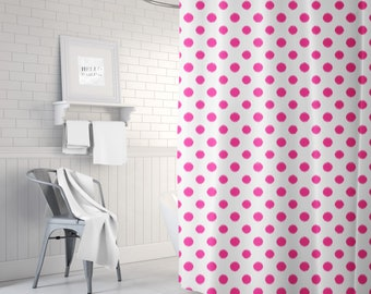 Fuchsia Shower Curtain, Girls Bathroom Decor, Pink Shower Curtain, Polka Dots, Ikat, Bath Curtain, Standard or Extra Long