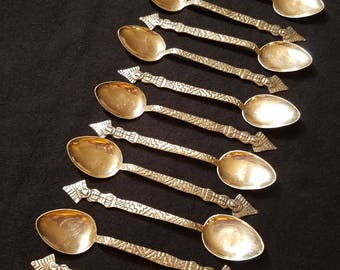 "Vintage Sterling Silver Aztec 5"" Spoons"