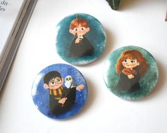 Lot de 3 badges Harry Potter