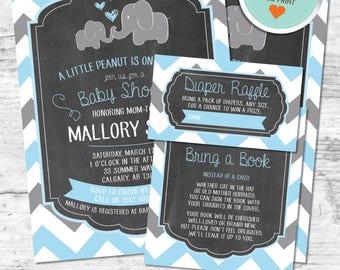 Elephant Baby Shower Invitation, Elephant Invitation, Blue, Gray, Chevron, Chalkboard (Hearts) | DIY